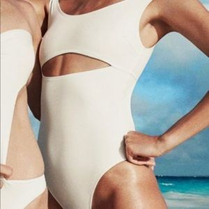 Solid and Striped Swim Team white one piece